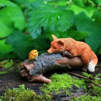 Miniature Fairy Garden Playful Red Fox with Bird TO 4277 Gnome Hobbit  Figurine