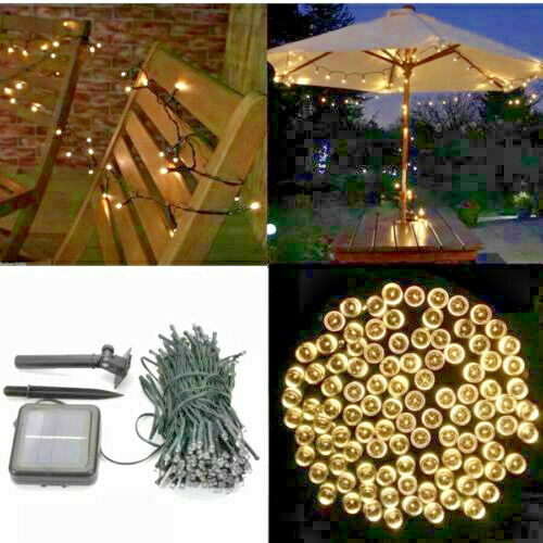 39ft 100 LED Solar Powered Outdoor String Lights Bright White Christmas Party Home & Garden