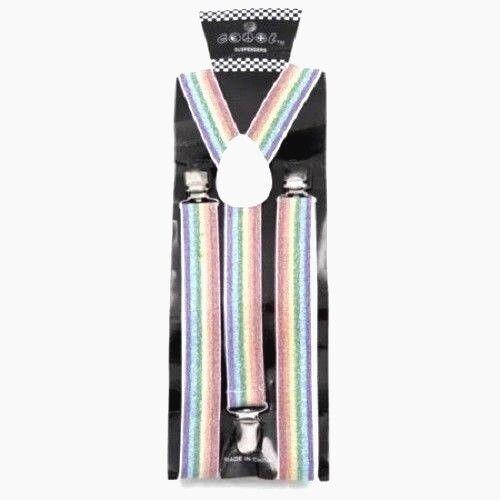 New Rainbow Suspender Sparkle Glitter Gay Pride Rainbow Lesbian Bisexual Design