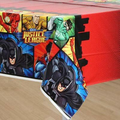 JUSTICE LEAGUE PLASTIC PARTY TABLE COVER BATMAN SUPERMAN AQUAMAN GREEN LANTERN - Justice League Party