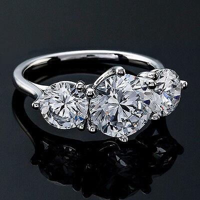 1.28 CT ROUND CUT DIAMOND ENGAGEMENT RING 14K WHITE GOLD ENHANCED