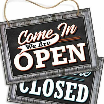Open Closed Sign For Business Door - Reversible Double Sided With Rope Square