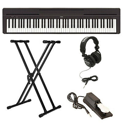 Yamaha P-45B Digital Piano with Stand, Sustain Pedal, and He