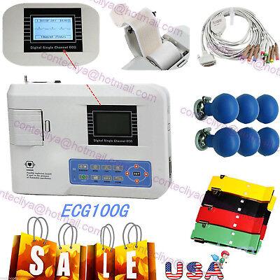 Contec Portable Ekg Monitor Ecg Machine Electrocardiograph Free Printer Ecg100g