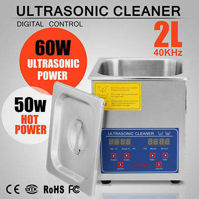 New Stainless Steel 2l Liter Industry Heated Ultrasonic Cleaner Heater Timer Usa