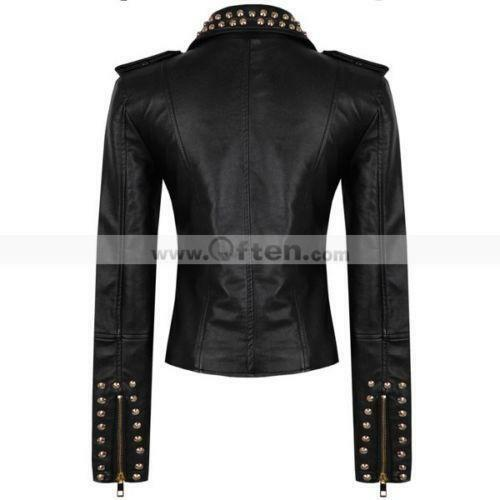 Leather spiked jacket