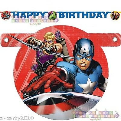 AVENGERS ASSEMBLE HAPPY BIRTHDAY BANNER ~ Party Supplies Captain America Hulk (Hulk Party Supplies)