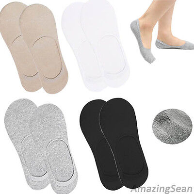 8 Pairs Men Low banding Socks Black Gray Beige White Silicone Invisible SO01