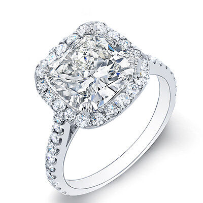 4.90 Ct Cushion Cut & Round Pave Diamond Engagement Ring I,VS1 GIA Certified 14K