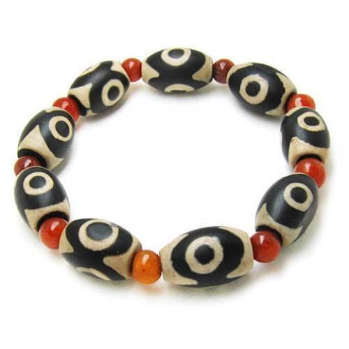 Tibetan Red Agate 10 3-Eye dZi Beads Beaded Bracelet -Powerful Energy!