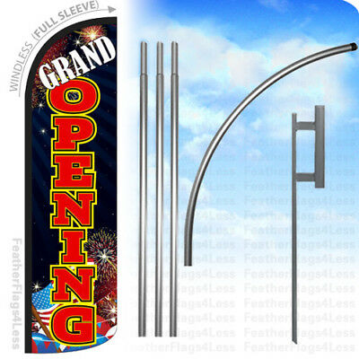 Grand Opening Windless Swooper Feather Flag 15 Kit Banner Sign - Kq