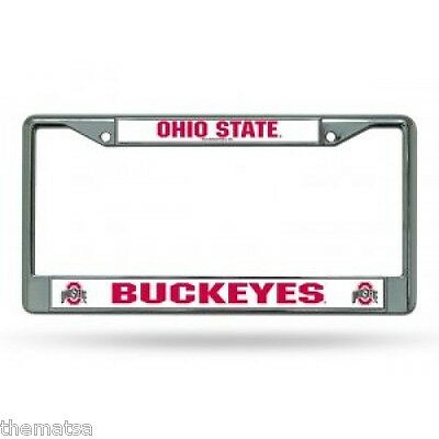 OHIO STATE UNIVERSITY BUCKEYES COLLEGE CHROME LICENSE PLATE FRAME MADE IN USA ()