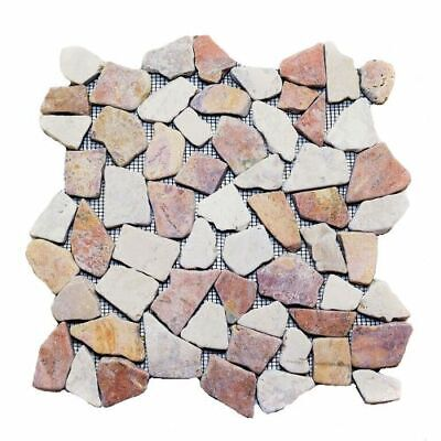 Natural Red & White Flat Mosaic Stone Tile 12