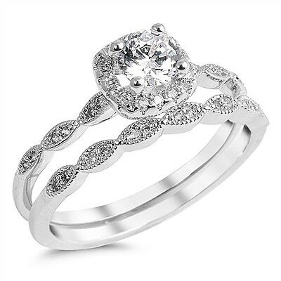 Bridal Set Silver Ring - Sterling Silver 925 BRIDAL WEDDING SET ROUND DESIGN CLEAR CZ RING 7MM SIZES 5-10