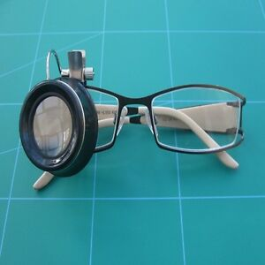 Watchmakers Clip On Eye Glass 10 X Magnification Clips Over Spectacle Frames