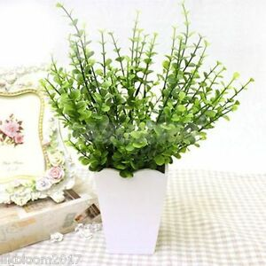 Green Artificial Small Leaves Plant 7 Branches Eucalyptus Grass Home Decor171984