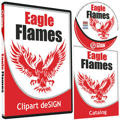 Eagle Flames Clipart -vinyl Cutter Plotter Clip Art Images-vector Cd