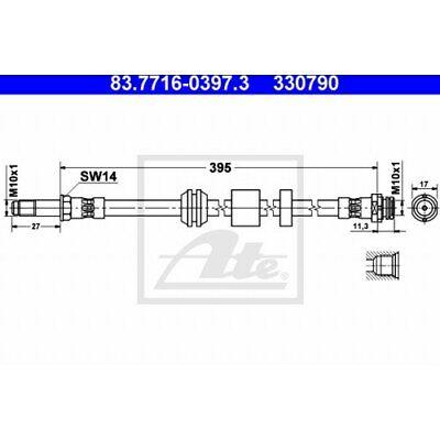 ATE BREMSSCHLAUCH BREMSLEITUNG FORD C-MAX FOCUS 83.7716-0397.3