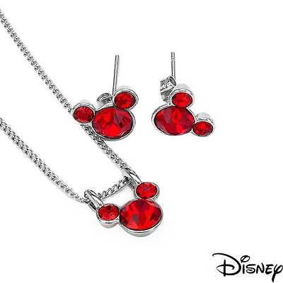 Disney Mickey Mouse Necklace & Earrings set W/Genuine Crystal in Base Metal  Disney Couture Set Necklace