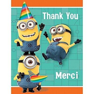 Despicable Me Thank You (DESPICABLE ME Minion Made THANK YOU NOTES (8) ~ Birthday Party Supplies)