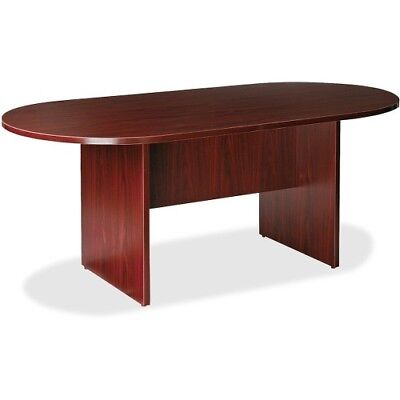 Lorell Essentials Oval Conference Room Table Top And Base Mahogany Llr87272