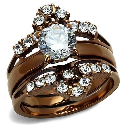 Chocolate Wedding Ring (Round CZ Chocolate Brown  Coffee Stainless Steel Wedding Engagement  Ring)