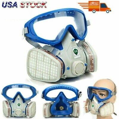 Full Face Respirator Gas Mask Double Filter Air Breathing Chemical Gas Protector
