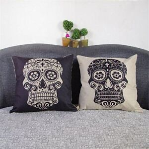 Luxbon Set of 2 Pcs Day of the Dead Mexico Fiesta Mexcan Sugar Skull Cushion Co