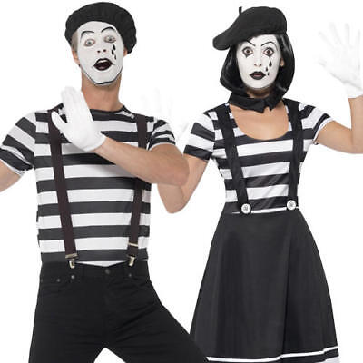 Male Carnival Costumes (Silent Mime Artist Adults Fancy Dress French National Circus Carnival)