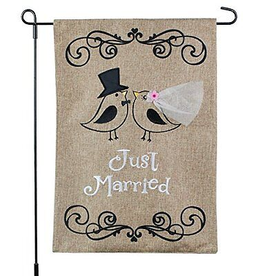 Love Birds Garden Flag (JUST MARRIED Love Birds Burlap Garden Flag, 12
