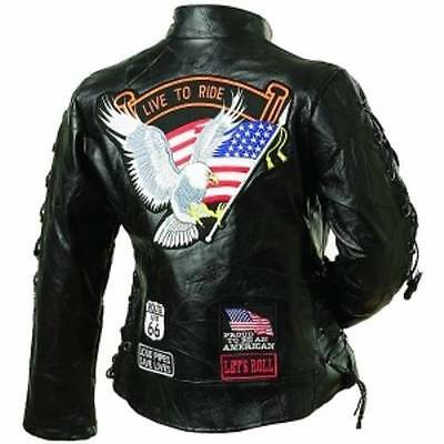 Ladies Leather Biker Motorcycle Harley Rider Chopper Jacket Eagle Patch