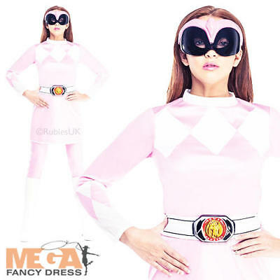 Pink Power Ranger Fancy Dress Ladies Superhero Rangers Adult Womens Costume New