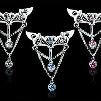 Stone Light Blue Navel Ring (Reverse Wings W/ Heart CZ Gem Belly Ring Navel Naval Clear, Pink, Light)