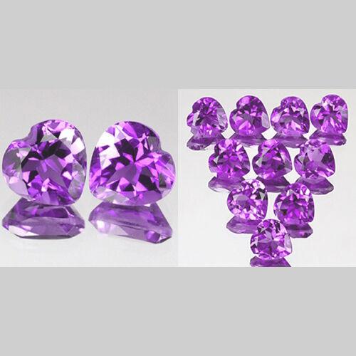 3mm Lot 2,10pcs Heart Cut Natural AA Purple AFRICA AMETHYST