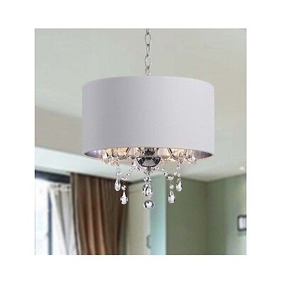 Crystal Chandelier with Shade Drum 3 Light Pendant Ceiling Lamp Lighting Fixture