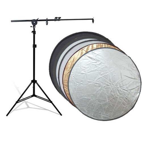 """Photography Foldable 43"""" 5in1 Collapsable Disc Reflector Stand Holding Arm Kit"""