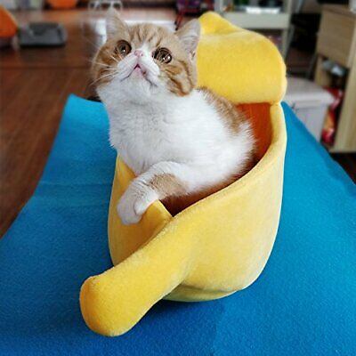 Creative Banana-shape Pet Dog Cat Bed Soft Warm Kennel Pet S