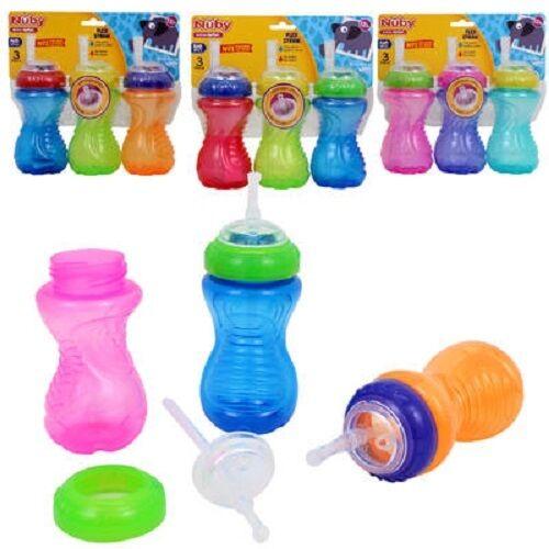 3 Nuby Active Sipeez Bottles Flex Straw No Spill 12+ Months 10 oz (See Note)