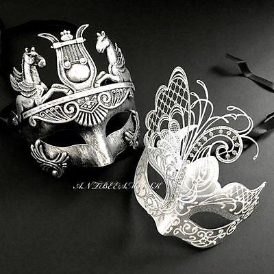 Black /Silver Roman White/Silver Venetian Metal Masquerade Set custom Ball Masks