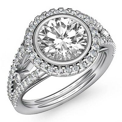 Halo Split Shank Round Diamond Engagement Bezel Prong Set Ring GIA F VS1 2.3 Ct
