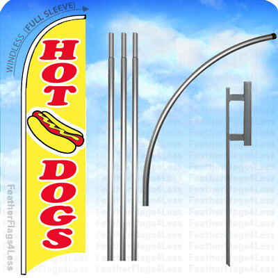 Hot Dogs - Windless Swooper Flag 15 Kit Feather Banner Sign - Yb
