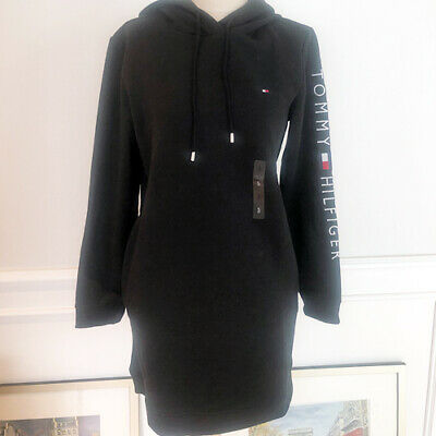 Tommy Hilfiger Women Logo Sweatshirt Hoodie Dress Black Size S Free Shipping