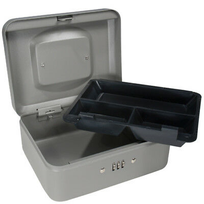 Barska 8 Inch Small Safe Steel Cash Box W Combination Lock In Grey Cb11784