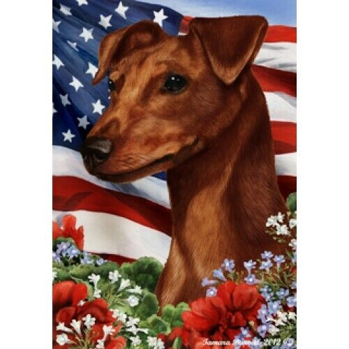 Patriotic (1) House Flag - Uncropped Red Miniature Pinscher 16151