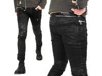 NEW BALMAIN SLIM-FIT LEATHER-PANELLED COATED DENIM BIKER JEANS - SIZE 28/29 waist! Mint condition!!