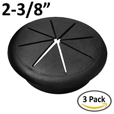 "2-3/8"" Flexible Desk Grommet - Color: Black - 3 Pack"