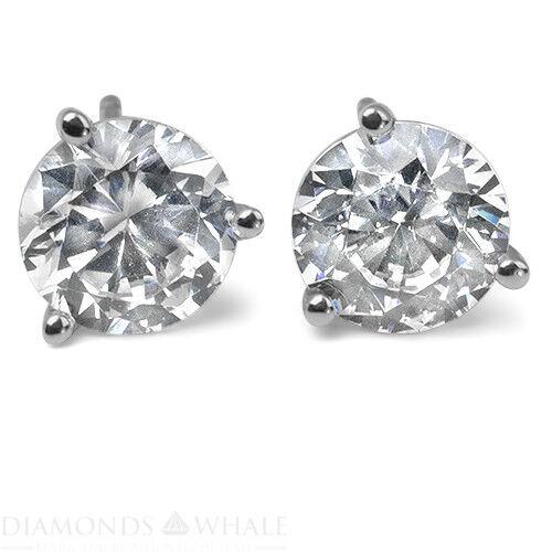 Round Enhanced Engagement Diamond Earrings 1.3 Ct Vs1/d 18k White Gold Bridal