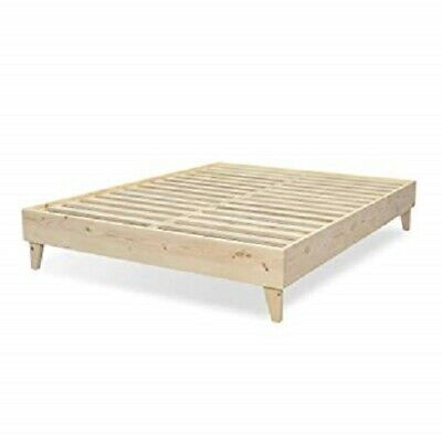 Contemporary Pine Bed - Platform Bed Frame 100% North American Pine Solid Wood Unfinished USA Assembly