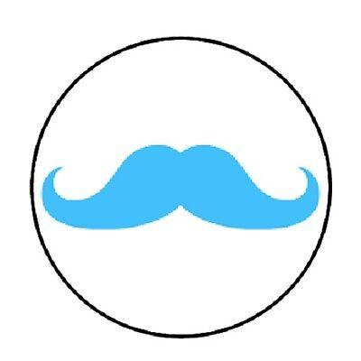 48 Blue Mustache!  ENVELOPE SEALS LABELS STICKERS 1.2