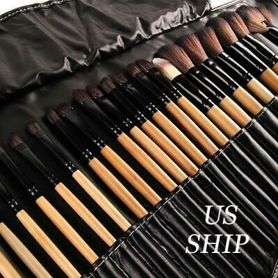 32pcs Professional Soft Cosmetic Eyebrow Shadow Makeup Brush Tool Set Kit Bag US Brushes